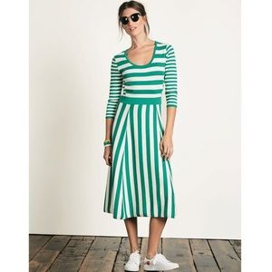 Boden Green and White Striped Dress